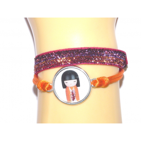 Bracelet Kokeshi Fuschia/orange